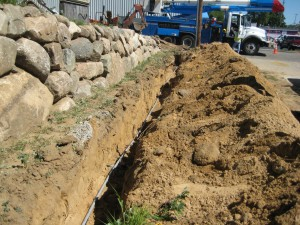 the trench for the electrical line